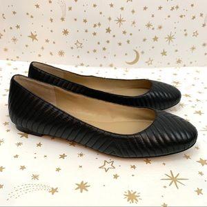 Ann Taylor | Quilted Chevron Black Ballet Flats 8